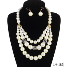 2015 new products peal necklace jewelry set with necklace earrings