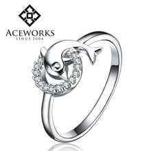 2015 fashion jewellery ring dolphin shape 925 silver ring unique cubic zirconia ring