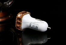 Luxury Bling Bling Glitter Diamond Car Charger Dual USB Car Charger 2.1A Car Chargers Adapter