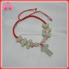 Red Rope Braided Handmade Fashion Imitation Jade Cross Bracelets-QXBR15364