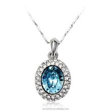 OUXI true love tears shaped sea blue crystal drop necklace 10202