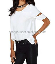 Sexy office lady blouse femme T-shirt chemise blanc en mousseline de Soie Manches Courts new design 2015