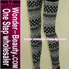 Black white dots printed seamless leggings