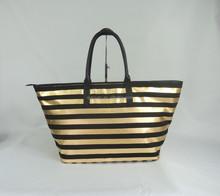 Black strap-gilding canvas women handbag