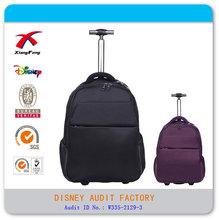 Black nylon Classic 18'' laptop trolley bag with hide shoulder strap