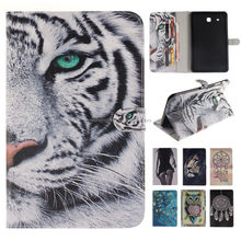 Animal Printing Magnetic Standing Folio Tablet PU Leather Case for Samsung Galaxy Tab E T560