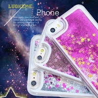 New Type Transparent Clear Glitter Star Dynamic Liquid Quicksand Phone Back Cover Phone Case For Iphone 6 plus case custom