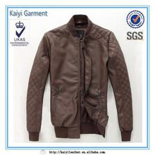 OEM korean style brown diamond varsity men pu leather jacket
