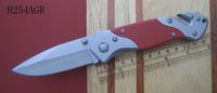 Bead blast blade red G 10 handle with belt cutter folding outdoor survival emergency pocket knife