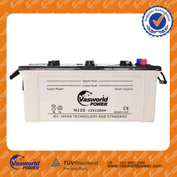 2015 Best Sell dry charged battery 12v120ah battery operated car dry rechargeable battery