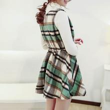 2015 New Fashion Japanese Korean Style Pattern Woolen Casual Dress