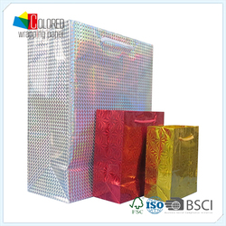 Pop Style Metallic Color Holographic Shopping Paper Bag OEM
