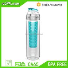 Hot Sale BPA free 800ml Tritan Blue Fruit Infuser Water Bottle