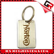 Custom gold metal alphabet e keychain