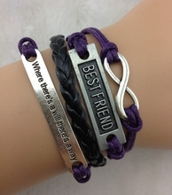 Infinity & Best friend bracelet ,Silver Where there is a will there is a way, leather rope bracelet bangle weave 972
