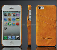Retro Grease Leather Case For Iphone 5 5s Back Protective Cases with 2 Layer Crad Slot Cover for iphone5 Top Quality