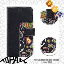 Printed pu leather cover case with hard card hole cell phone case for iphone 6s