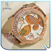 Leather strap butterfly diamond dial Dress Watches for women watch phone with skype