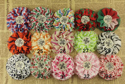 Unique Wholesale handmade ruffle flower applique rhinestone chiffon fabric flower