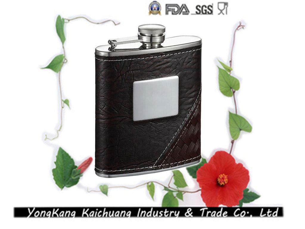 6oz Leather wine carrier stainless steel designer plastic liquor hip flask