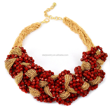 European and American fashion personality decoration Fashion knitting beaded necklace