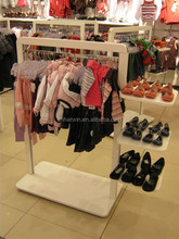 wooden customized shoe table racks t-shirt cloth displays