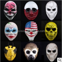Halloween Theme Maquerade Party Masks Resin Flag Clown Heist Joker Wolf Dallas Chains Hoxton Game Payday 2 Mask