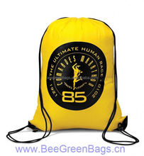 2014 Hot Cheap 210D Polyester denim drawstring bag with Reinforced Corners