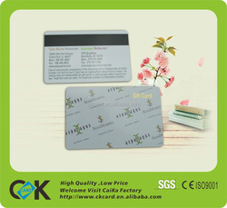 2015 top selling magnetic stripe gift card printing with new pvc