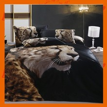 Modern Style Yellow Black Leopard Animal Cotton 400 Thread Count Duvet Cover