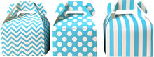 blue striped cheveron dots gift candy packing hand paper box