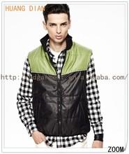 2015 Winter Stylish Contrast Color Stand Collar Cotton Padding Vest For Men/Mens Winter Vest