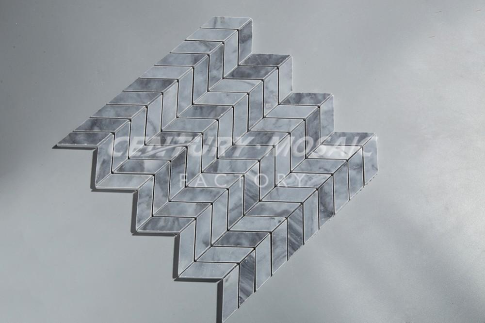 밀라노 회색 대리석 쉐브론 모자이크 타일 주방 벽 타일 ...