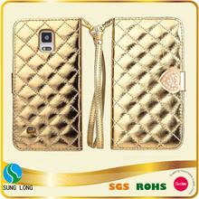 Fashion Wristlet Case Plaid Design Flip Stand Folio PU Leather Case with card holder