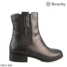 Black Sheepskin Pattern Low Heel Winter Ankle Boot
