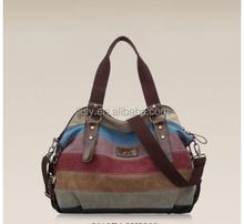 Women Handbags Striped Canvas Hit Color Shoulder Bag Messenger Bag Lady Bags