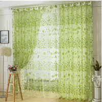 Floral Pattern Voile Curtain Tulle Door Window Curtain Sheer Voile Curtain Drape Valance House Decoration Four Color