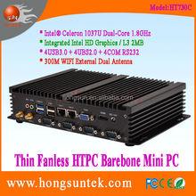 Barebone PC System Intel Celeron 1037U Quad Core 1.8Ghz CPU 4COM RS232 ports Thin Fanless Barebone Industrial Mini computer