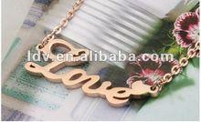 Fashion rose gold necklace Love letter necklace 2012 hot sale necklace