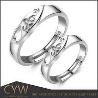 CYW new products 2015 925 silver couple rings alibaba express jewelry