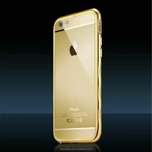 Luxury 24k Gold Aluminum Frame Metal Wire Drawing Back Cover Case For iphone 6