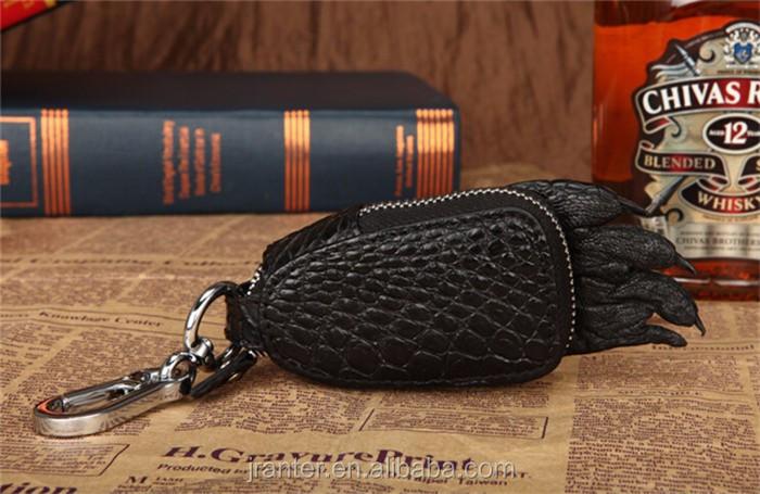 2016 Hot Sale Custom brand logo crocodile leather key case for car _6