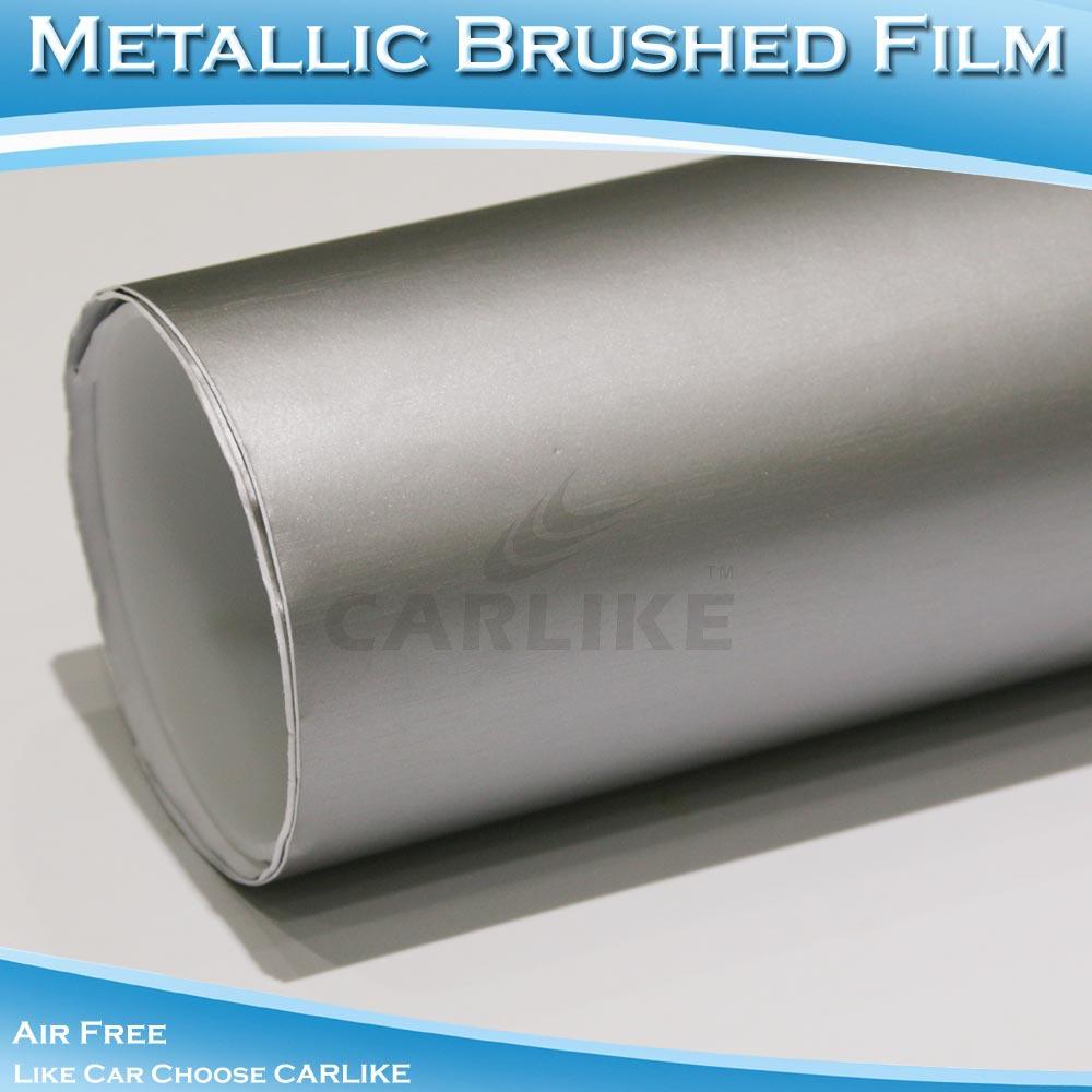 Marca carlike sé- adesivo pvc adesivo cromo spazzolato film di avvolgimento auto