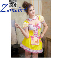 Yellow Princess Dress Sweetheart Anime Role-playing Sexy Halloween Party Maid Costume