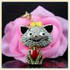 Cute cat with black baffi shaped rhinestone keychain, car&bag pendant jewelry