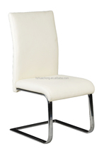 2015 HC-D008 L shape Modern PU and chrome leg nice white dining chair