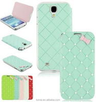 Pearl Bowknot Flip PU Leather Case Cover For Samsung Galaxy S4 i9500