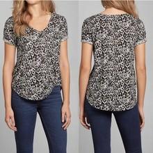 Leopard print stretch cotton modal short sleeve women t shirt