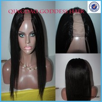 Whole natural straight middle part upart wig, Brazilian virgin/remy hair u part wig for american