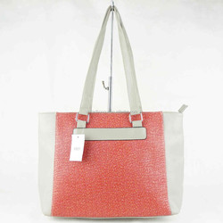 White and red PU leather simple design glittering tote bag ladies big shoulder bags
